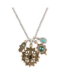 Lucky Brand - Metallic Twotone Hamsa Multistone Charm Necklace - Lyst