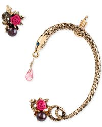 Betsey Johnson | Metallic Gold-tone Skull Cluster Stud And Snake Earring Cuff Set | Lyst