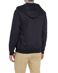 Ben Sherman - Blue Hooded Showerproof Harrington Jacket for Men - Lyst