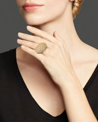 Roberto Coin | Metallic 18k Yellow Gold Plated Sterling Silver Stingray Round Disc Ring | Lyst