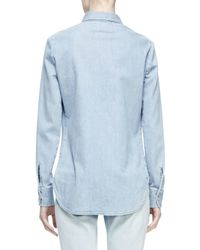 Stella McCartney - Blue Floral-embroidered Denim Shirt - Lyst