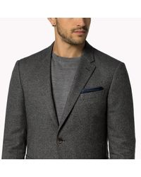 Tommy Hilfiger | Gray Cotton Blend Fitted Blazer for Men | Lyst
