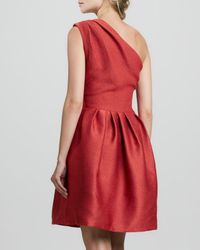 Halston - Red Oneshoulder Bell Dress 14 - Lyst