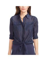 Ralph Lauren - Blue Silk-cotton Shirt - Lyst