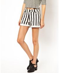 Just Female | White Stripe Shorts | Lyst
