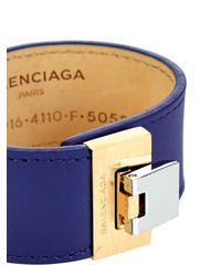Balenciaga - Blue Le Dix Leather Cuff - Lyst