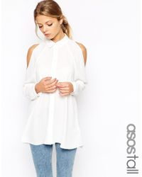 ASOS | White Cold Shoulder Blouse | Lyst