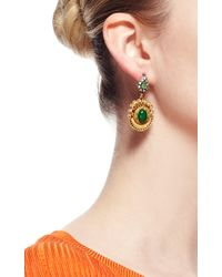 Masterpeace - Green Carved Birch Wood and Malachite Earrings - Lyst