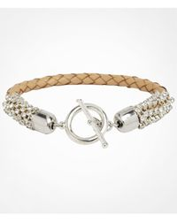 Express | Natural Rhinestone Wrapped Braided Toggle Bracelet | Lyst