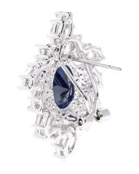 CZ by Kenneth Jay Lane Blue Oval Cubic Zirconia Wreath Earrings