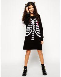 13fcf22927 Lyst - ASOS Halloween Skeleton Knit Jumper Dress in Black