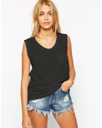 ASOS | Black Tank Top With Pocket | Lyst