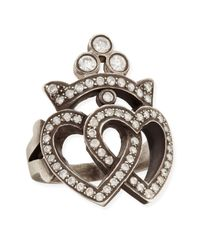 Irit Design - Gray Double Heart Crown Ring with Diamonds - Lyst