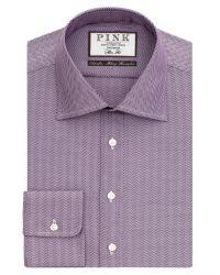 Thomas Pink - Purple Deane Texture Slim Fit Shirt for Men - Lyst