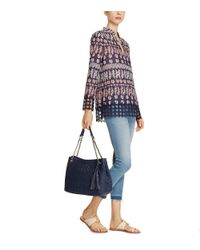 Tory Burch - Natural Thea Straw Center-zip Tote - Lyst