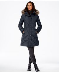 London Fog | Blue Faux-fur-trim Down Coat | Lyst