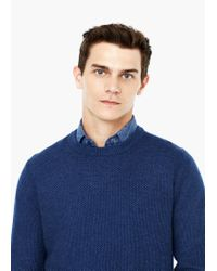 Mango | Blue Textured Wool-blend Sweater for Men | Lyst