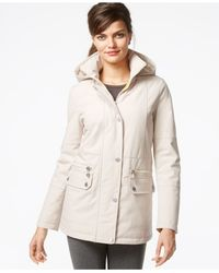 Kenneth Cole - Gray Hooded Quilt-lined Raincoat - Lyst