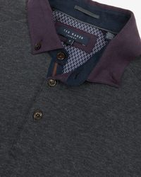 Ted Baker - Gray Long Sleeved Polo Shirt for Men - Lyst