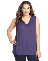NYDJ | Blue Sleeveless V-neck Tunic | Lyst