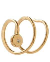 Melissa Joy Manning | Metallic Gold White Diamond Double Hug Hoop Earrings | Lyst