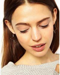 ASOS | Metallic Star Hoop Earrings | Lyst