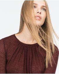 Zara | Brown Wool Top | Lyst