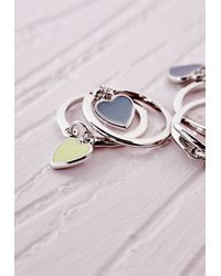 Missguided | Multicolor Heart Charms Stacking Ring Set Multi | Lyst