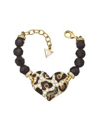 Guess | White Feline Instinct Leo Heart Bead Gold-plated Bracelet | Lyst