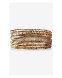 Express | Metallic Diamond Cut Bangle Bracelet Set | Lyst