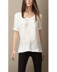 Burberry | White Silk Twill Tshirt | Lyst