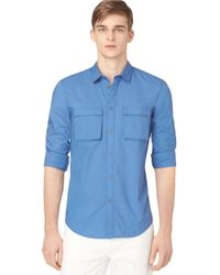 Calvin Klein Jeans | Blue Military Woven Sportshirt for Men | Lyst