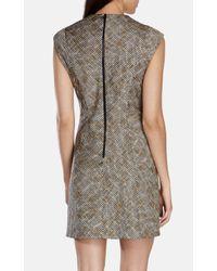 Karen Millen | Metallic Tweed V-neck Dress | Lyst
