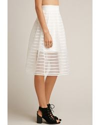 Forever 21 - White Tiger Mist Twist Midi Skirt - Lyst