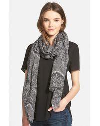 La Fiorentina - Black Lace Print Silk & Wool Scarf - Lyst