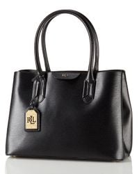 Lauren by Ralph Lauren - Black Leather City Tote - Lyst