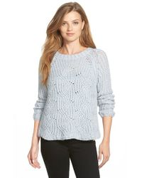 Two By Vince Camuto | Blue Cable Stitch Marled Yarn Pullover | Lyst