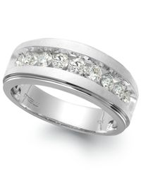 Macy's | Metallic Men's Nine-stone Diamond Ring In 10k White Gold (1/2 Ct. T.w.) for Men | Lyst