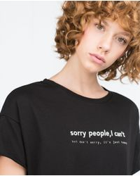 Zara | Black Oversize Text T-shirt | Lyst