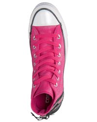 Converse - Pink Women'S Chuck Taylor Tri-Zip Sparkle Wash Casual Sneakers From Finish Line - Lyst