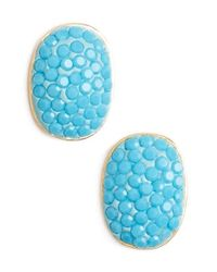 Kate Spade | Blue 'pave The Way' Stud Earrings - Turquoise | Lyst