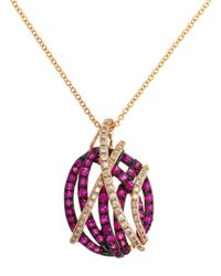 Effy | Red Diamond And Ruby 14k Rose Gold Pendant Necklace | Lyst