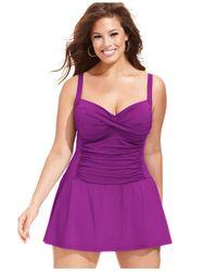 La Blanca | Purple Plus Size Twist-Front Ruched Swimdress | Lyst