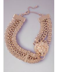 Bebe | Metallic Lion Door Knocker Necklace | Lyst