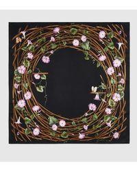 Gucci - Black Bamboo Flower Print Silk Scarf - Lyst