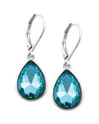 Nine West - Silvertone Blue Stone Teardrop Earrings - Lyst