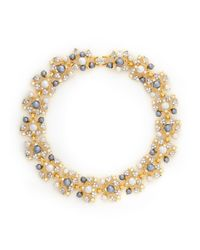 Kenneth Jay Lane | Metallic Pearl And Crystal Pavé Vine Necklace | Lyst