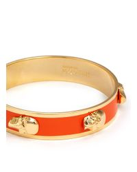 Alexander McQueen | Orange Skull Enamel Bangle | Lyst