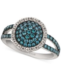 Le Vian | Blue And White Diamond Ring (9/10 Ct. T.w.) In 14k White Gold | Lyst
