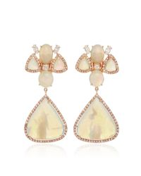 Nina Runsdorf | Multicolor White Opal And Fancy Diamond Earrings | Lyst
